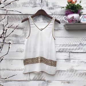BB Dakota Sheer White Tank Top with Gold Sequins